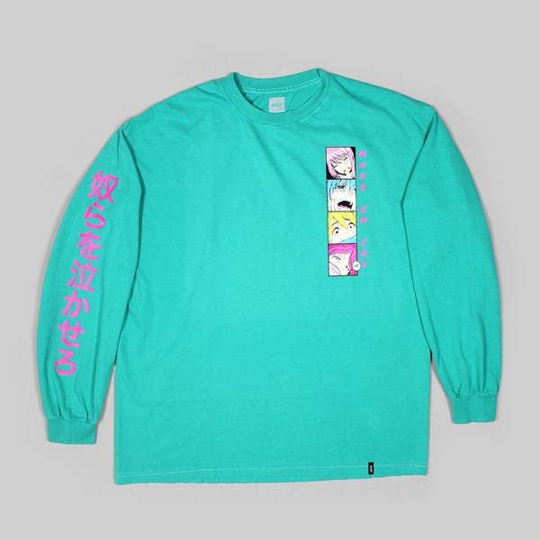 HUF MAKE EM CRY PT2 LS T-SHIRT TROPICAL GREEN