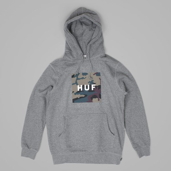 HUF MUTED MILITARY BOX LOGO PULLOVER HOOD GREY
