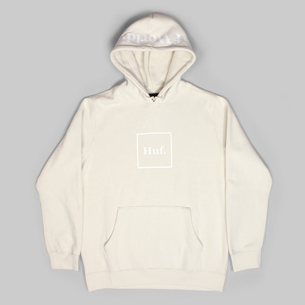 HUF OUTLINE BOX LOGO PO HOODIE OFF WHITE