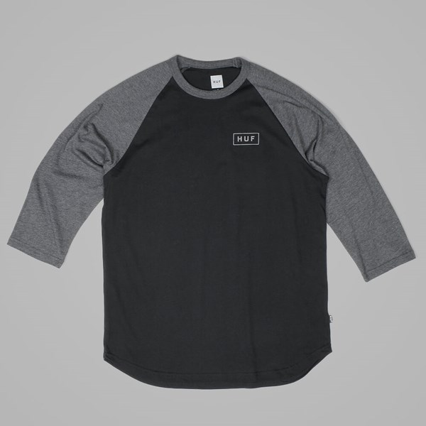 HUF REFLECTIVE BAR LOGO RAGLAN T SHIRT BLACK-CHARCOAL
