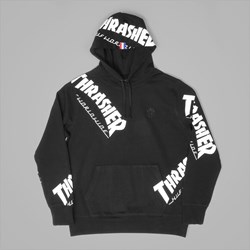 HUF X THRASHER TDS ALLOVER HOOD BLACK