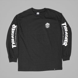 HUF X THRASHER TDS LONG SLEEVE TEE BLACK