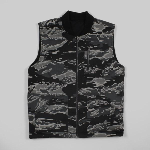 dc884b85e06f9 HUF Tiger Camo Reversible Vest Black Camo   HUF Jackets