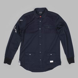KING APPAREL LETTERMAN LS SHIRT NAVY