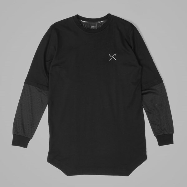 King Apparel Perf Longline Long Sleeve T Shirt Black