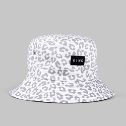 King Apparel Urbane Leopard Reversible Bucket Hat White