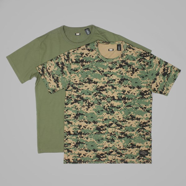 LEVI'S 2 PACK CREW NECK T SHIRTS CAMO PRINT-IVY GREEN