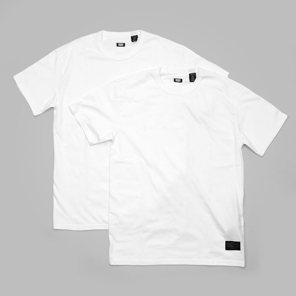 LEVI'S 2 PACK CREW NECK T SHIRTS WHITE-WHITE