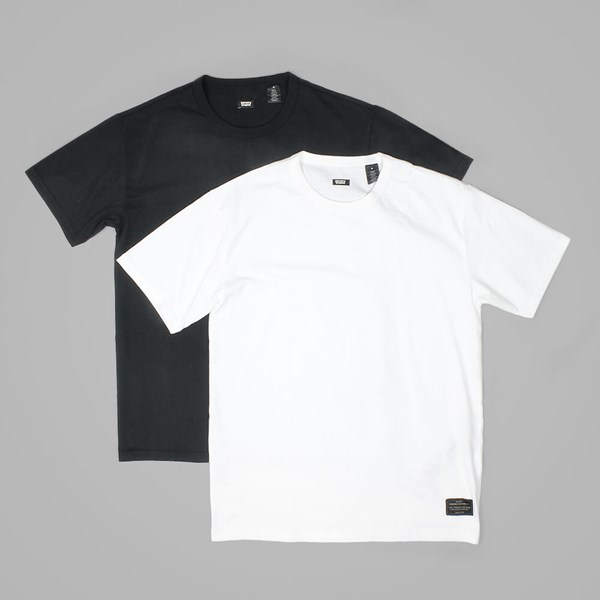 LEVI'S 2 PACK CREW NECK T WHITE-JET BLACK