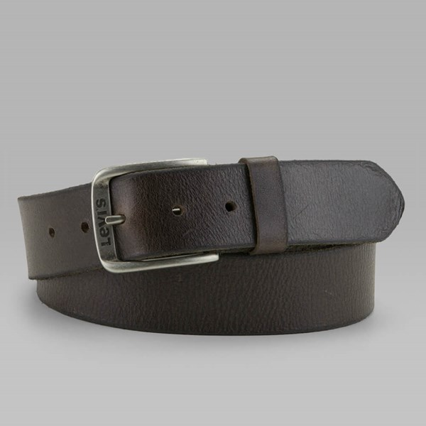 LEVI'S CLASSIC TOP LOGO BUCKLE BELT DARK BROWN
