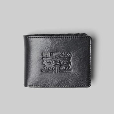 LEVI'S DENIM/LEATHER BIFOLD WITH COIN WALLET BLACK