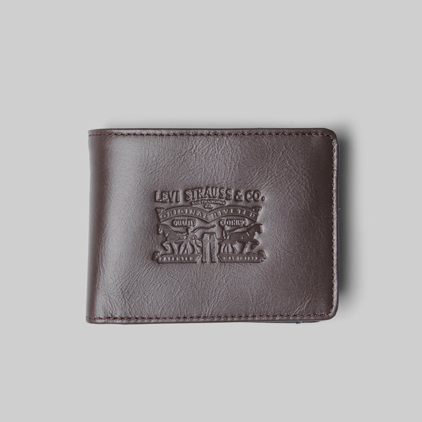 LEVI'S DENIM/LEATHER BIFOLD WITH COIN WALLET BROWN