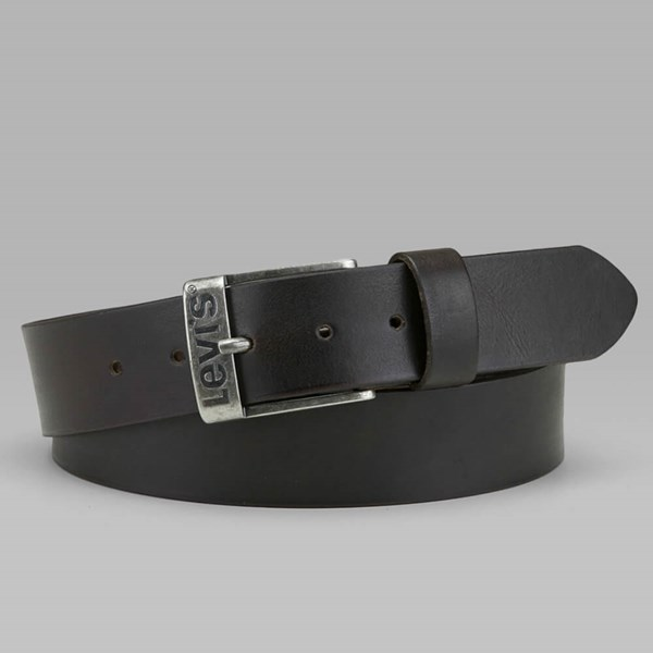 LEVI'S DUNCAN LEATHER BELT DARK BROWN