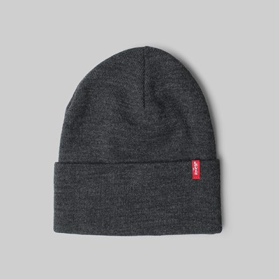LEVI'S SLOUCHY RED TAB BEANIE DARK GREY