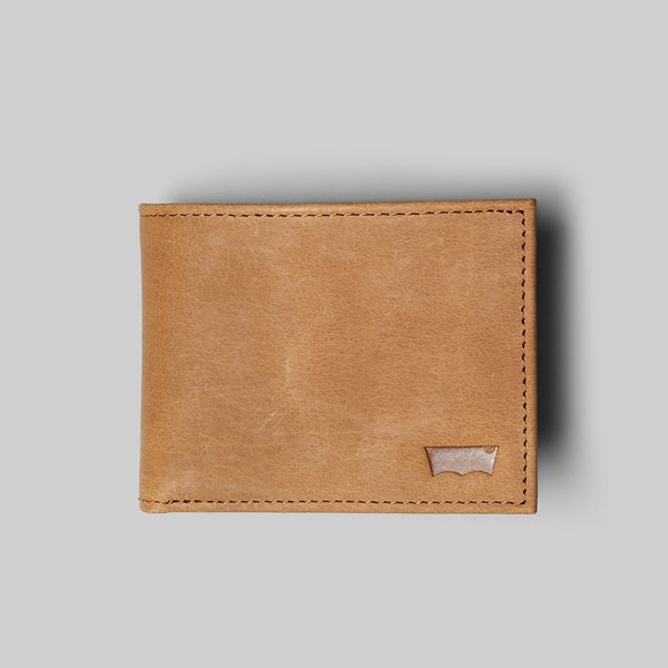 LEVI'S SUEDED BATWING BIFOLD WALLET BROWN