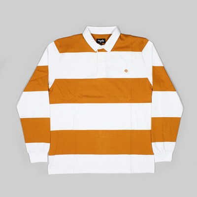 MAGENTA RUGBY LONG SLEEVE POLO WHITE ORANGE