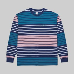 POLAR SKATE CO. MULTI COLOUR LS TEE NAVY PINK