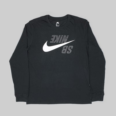 NIKE SB BACKWARDS LS TEE BLACK PHANTOM