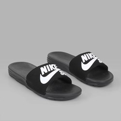 NIKE SB BENASSI SOLARSOFT SLIDES BLACK WHITE