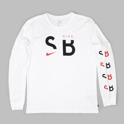 NIKE SB BRAND LONG SLEEVE T-SHIRT WHITE BLACK