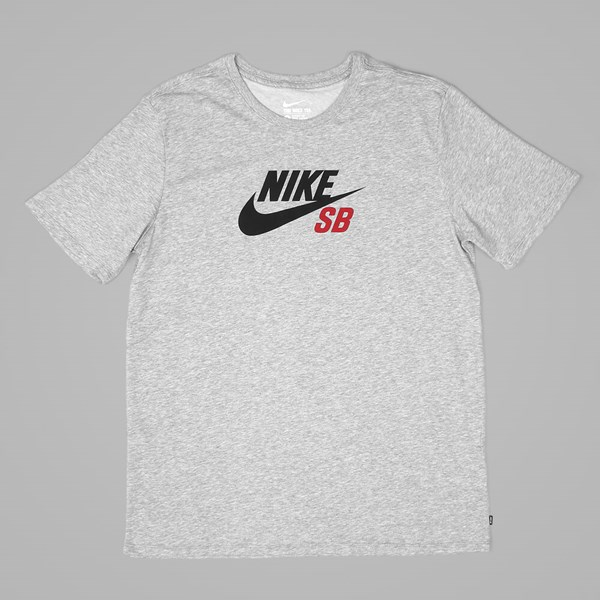 NIKE SB DRI FIT ICON LOGO TEE DARK GREY HEATHER