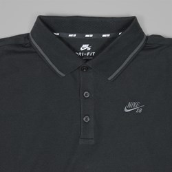 NIKE SB DRI FIT LS POLO SHIRT BLACK ANTHRACITE