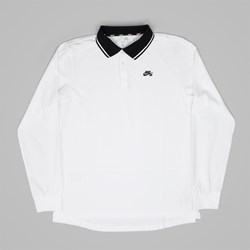 NIKE SB DRI FIT LS POLO SHIRT WHITE BLACK