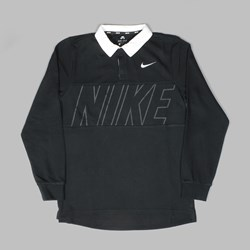NIKE SB DRY BLEND RUGBY SHIRT BLACK WHITE