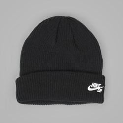 NIKE SB FISHERMAN BEANIE BLACK WHITE