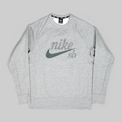 NIKE SB HERITAGE ICON CREW SWEAT DK GREY HEATHER