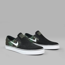 NIKE SB JANOSKI SLIP ON 'CAMO PACK' BLACK WHITE MULTI