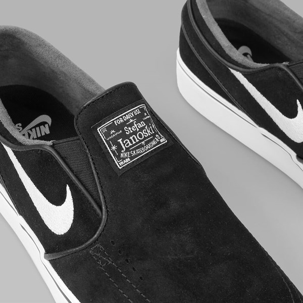 NIKE SB JANOSKI SLIP ON SUEDE BLACK WHITE