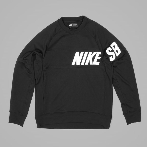 NIKE SB LT EVERETT DRI-FIT CREW	 BLACK WHITE