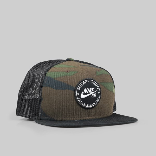 NIKE SB PRO PATCH TRUCKER CAP MEDIUM OLIVE BLACK CAMO ... 619c9764216