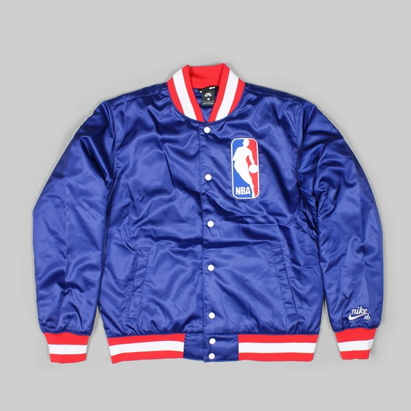 hot sale online b045e 81800 NIKE SB X NBA BOMBER JACKET DEEP ROYAL BLUE WHITE