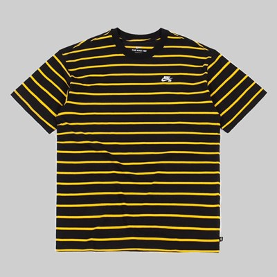 NIKE SB YARN DYE STRIPED TEE BLACK UNIVERSITY GOLD