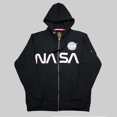 ALPHA INDUSTRIES NASA ZIP HOODY BLACK