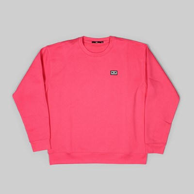 OBEY ALL EYES CREW NECK SWEAT CORAL PINK