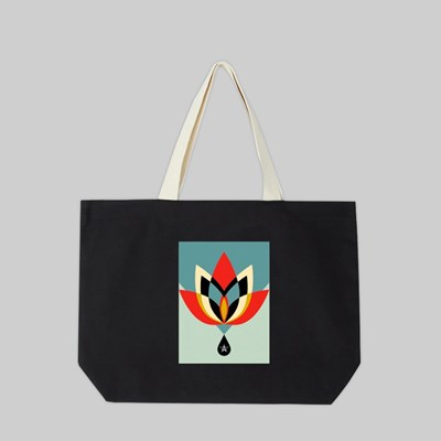 OBEY GEOMETRIC FLOWER TOTE BAG BLACK