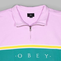 OBEY PALISADE MOCK NECK ZIP FLEECE PINK