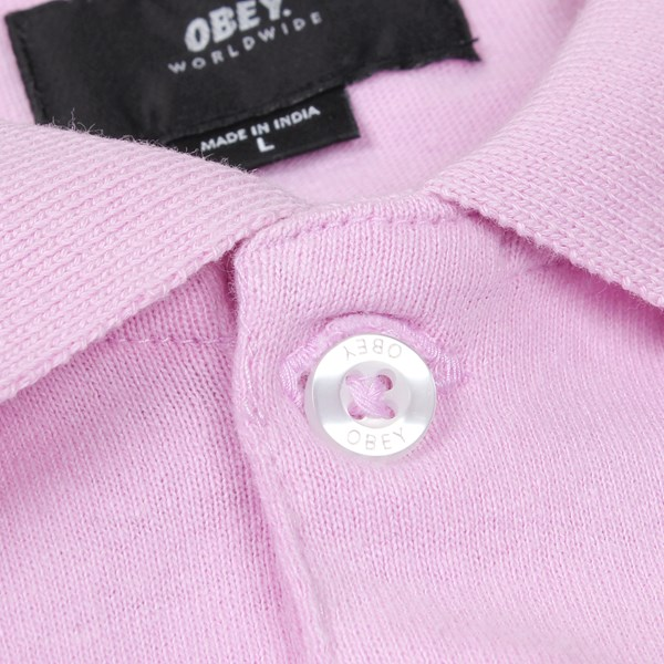 7c82be79 OBEY PALISADE LONG SLEEVE POLO PINK | Obey Shirts