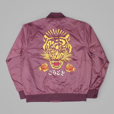 OBEY SAVAGE SATIN JACKET EGGPLANT