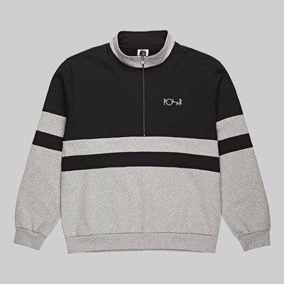 POLAR SKATE CO. BLOCK ZIP SWEATSHIRT BLACK GREY