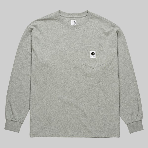 POLAR SKATE CO. POCKET LONGSLEEVE TEE HEATHER GREY