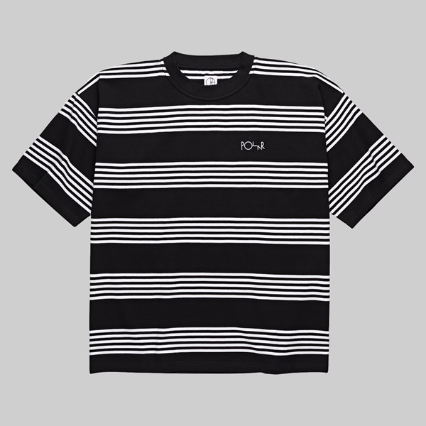 POLAR SKATE CO. STRIPED SURF T-SHIRT BLACK WHITE