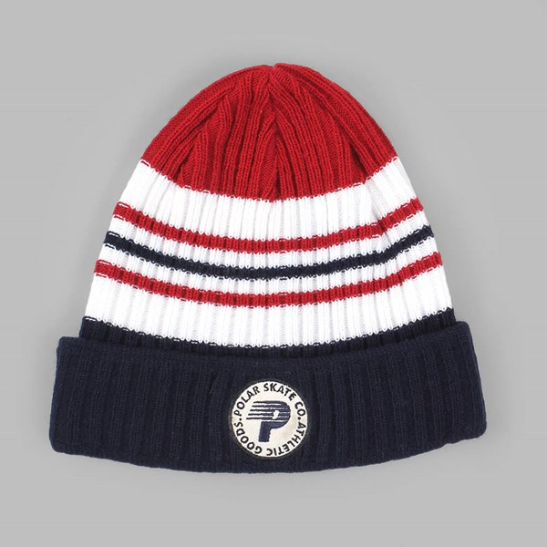 POLAR SKATE CO STRIPE BEANIE NAVY