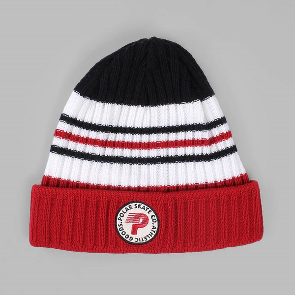 POLAR SKATE CO STRIPE BEANIE RED