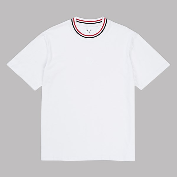 POLAR SKATE CO. STRIPED RIB SS T-SHIRT WHITE