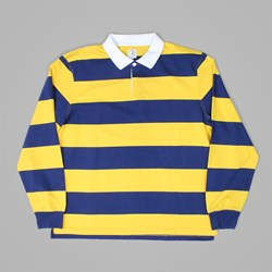 POLAR X DEAR SKATING BLOCK STRIPE LS POLO NAVY YELLOW