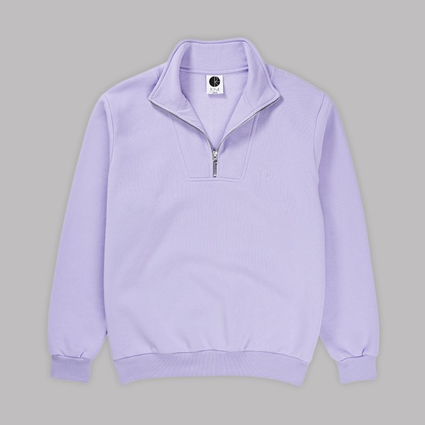 POLAR SKATE CO. ZIP NECK SWEATSHIRT LAVENDER